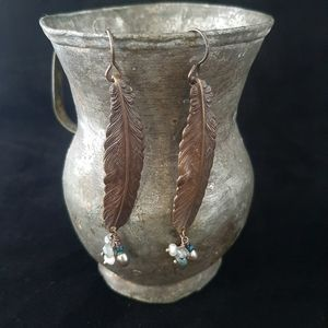 Handcrafted Brass Feather and Gemstone Earrings